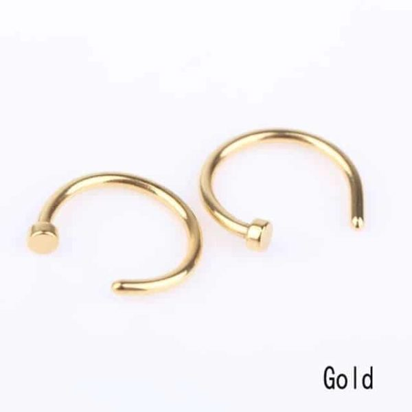 Clip On Nose Ring Hoop Gold