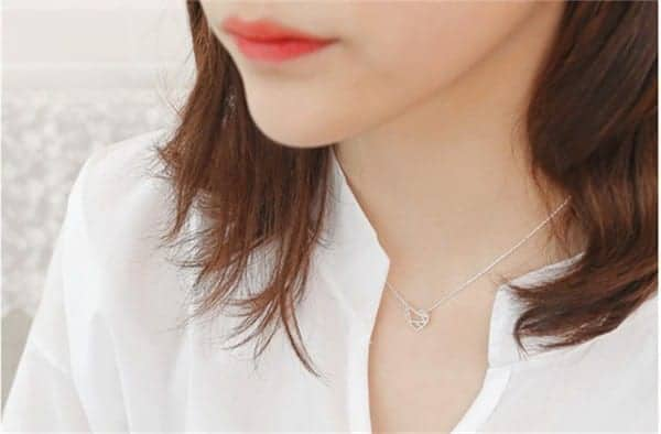 10PCS- Tiny Line Open Heart Necklace 4