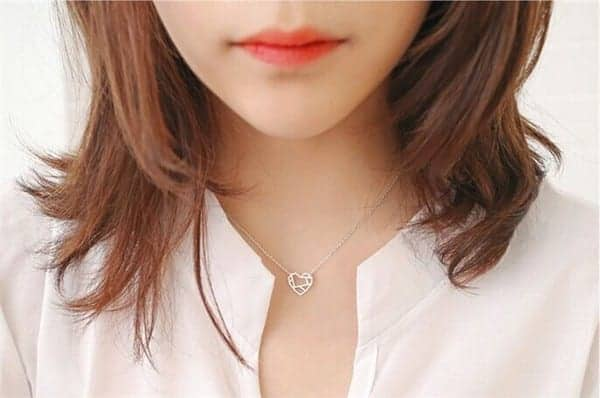 10PCS- Tiny Line Open Heart Necklace 6