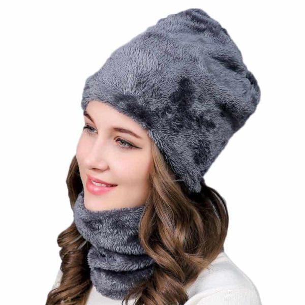 Knitting Wool Skullies Beanies Soft Neck Warmer 2 Pieces Set 2