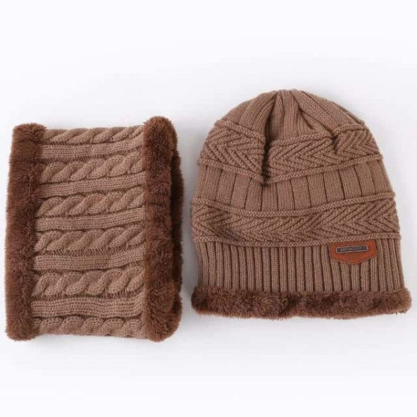 Knitting Wool Skullies Beanies Soft Neck Warmer 2 Pieces Set 8