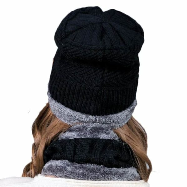 Knitting Wool Skullies Beanies Soft Neck Warmer 2 Pieces Set 3