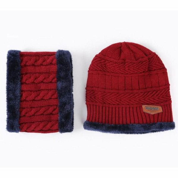 Knitting Wool Skullies Beanies Soft Neck Warmer 2 Pieces Set 4