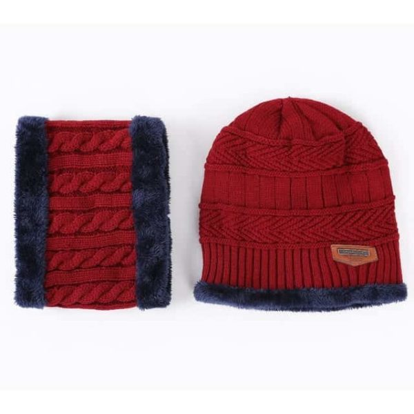 Knitting Wool Skullies Beanies Soft Neck Warmer 2 Pieces Set 10