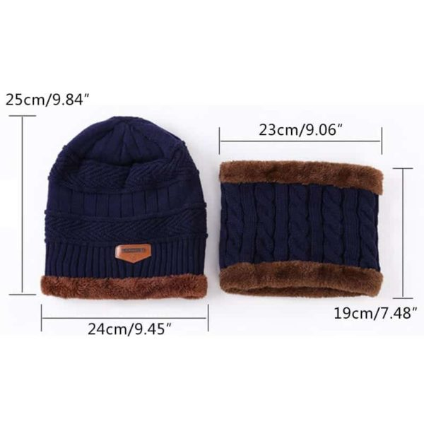 Knitting Wool Skullies Beanies Soft Neck Warmer 2 Pieces Set 5