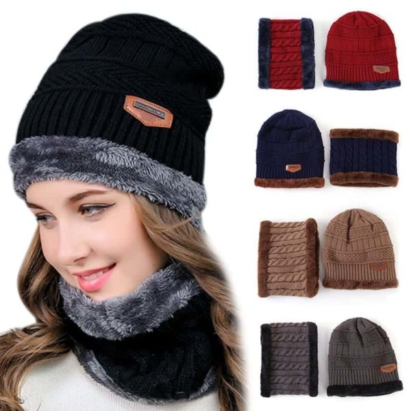 Knitting Wool Skullies Beanies Soft Neck Warmer 2 Pieces Set 6