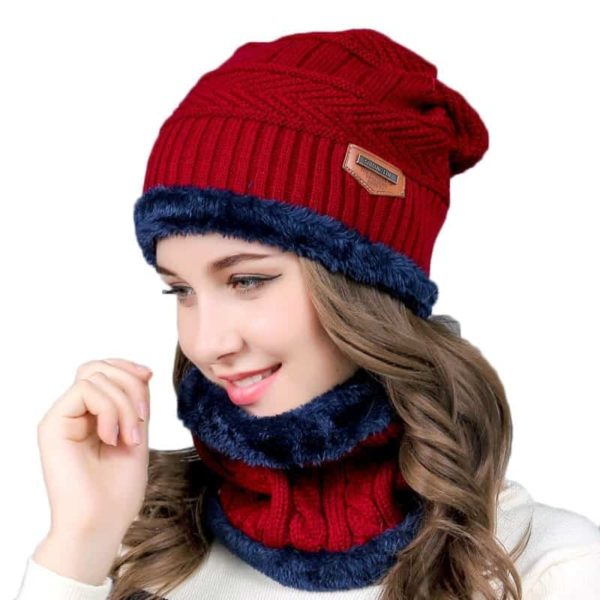 Knitting Wool Skullies Beanies Soft Neck Warmer 2 Pieces Set 1