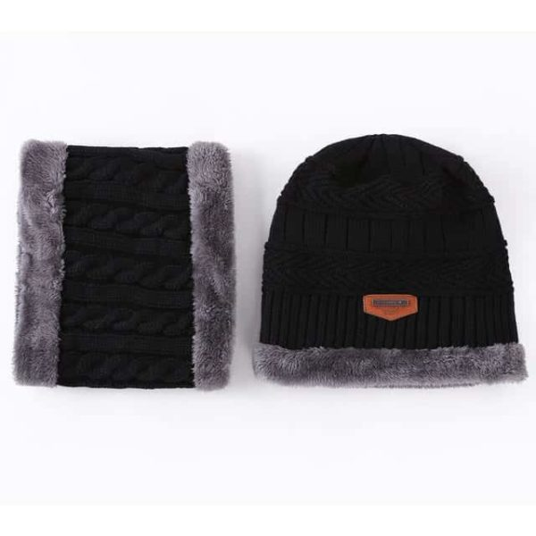 Knitting Wool Skullies Beanies Soft Neck Warmer 2 Pieces Set 7