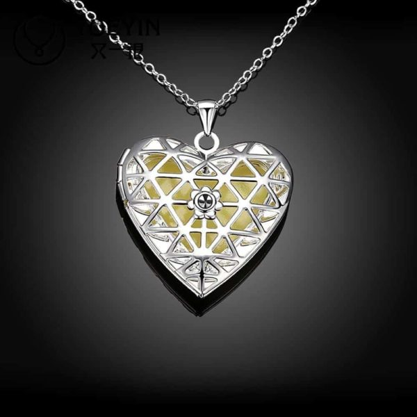 Lovely Hollow Out Glow In Dark Luminous Pendant Necklace 2