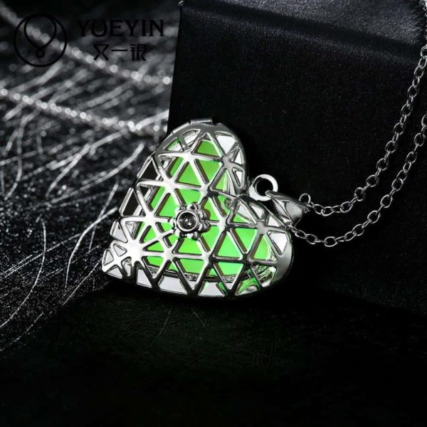 Lovely Hollow Out Glow In Dark Luminous Pendant Necklace 3