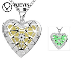 Lovely Hollow Out Glow In Dark Luminous Pendant Necklace