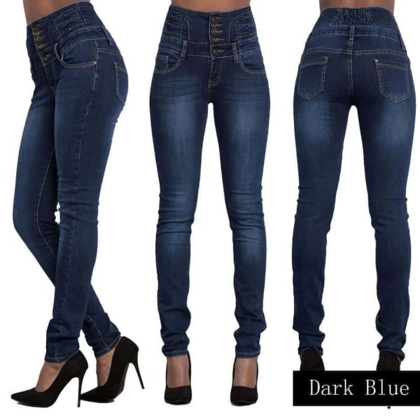 Denim Pencil Pants Stretch Jeans Dark Blue