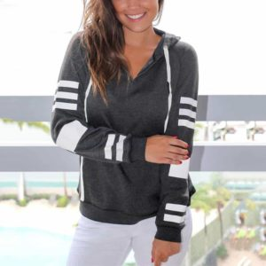 striped long sleeve drawstring hoodie