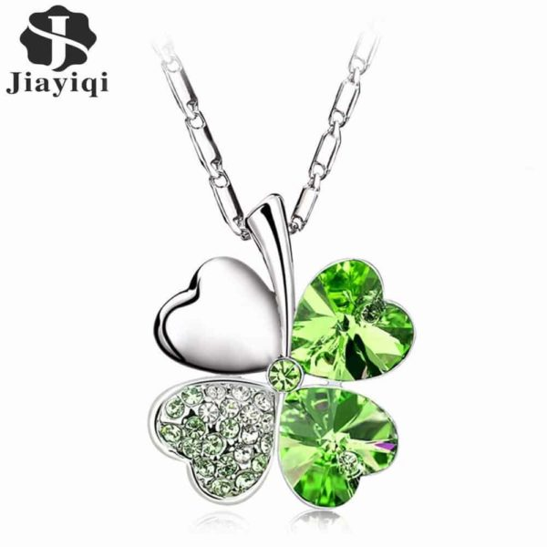Heart Chains Silver Crystal Clover Pendants Fine Jewelry 2