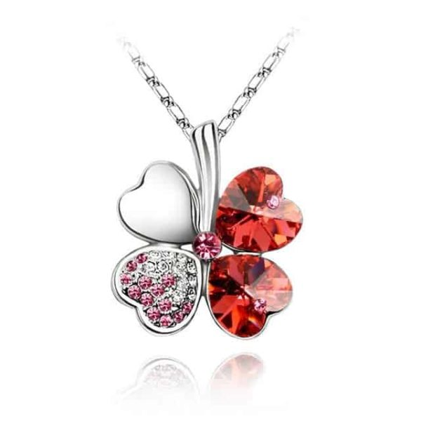 Heart Chains Silver Crystal Clover Pendants Fine Jewelry 8