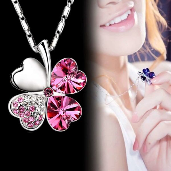 Heart Chains Silver Crystal Clover Pendants Fine Jewelry 3