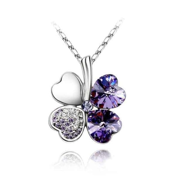 Heart Chains Silver Crystal Clover Pendants Fine Jewelry 9
