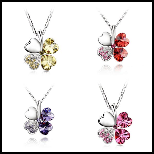 Heart Chains Silver Crystal Clover Pendants Fine Jewelry 4
