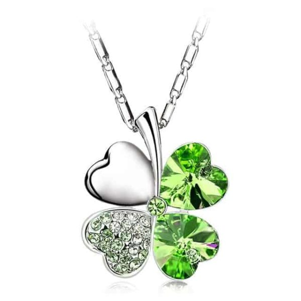 Heart Chains Silver Crystal Clover Pendants Fine Jewelry 10