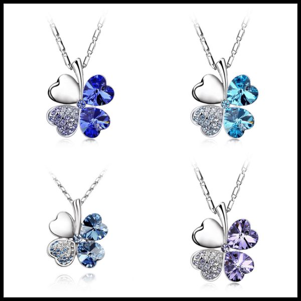 Heart Chains Silver Crystal Clover Pendants Fine Jewelry 5