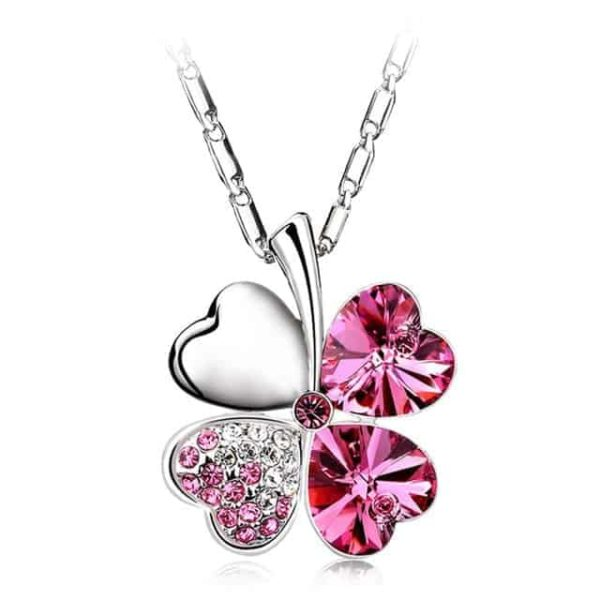 Heart Chains Silver Crystal Clover Pendants Fine Jewelry 11