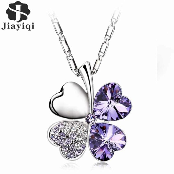 Heart Chains Silver Crystal Clover Pendants Fine Jewelry 6