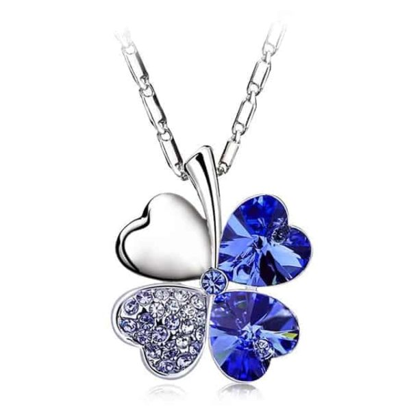 Heart Chains Silver Crystal Clover Pendants Fine Jewelry 12