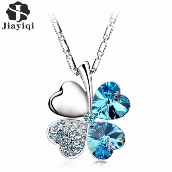 Heart Chains Silver Crystal Clover Pendants Fine Jewelry 1