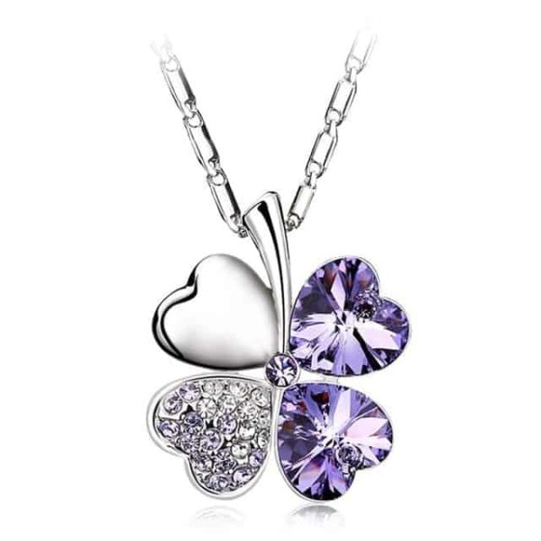 Heart Chains Silver Crystal Clover Pendants Fine Jewelry 15