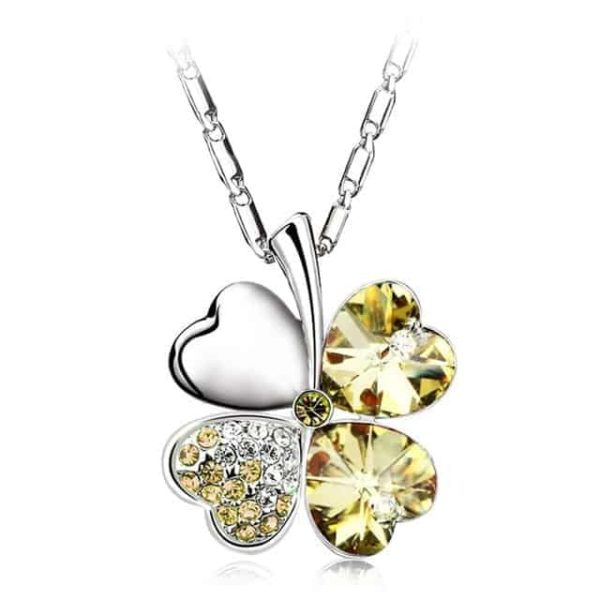 Heart Chains Silver Crystal Clover Pendants Fine Jewelry 7