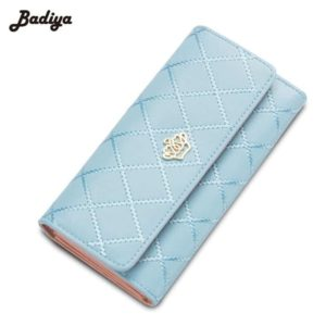 Fashion Crown Plaid Long Double Zip Clutch Leather Wallet