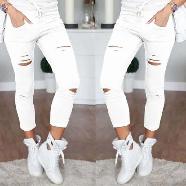 Ripped Skinny Jeans Casual Women 1