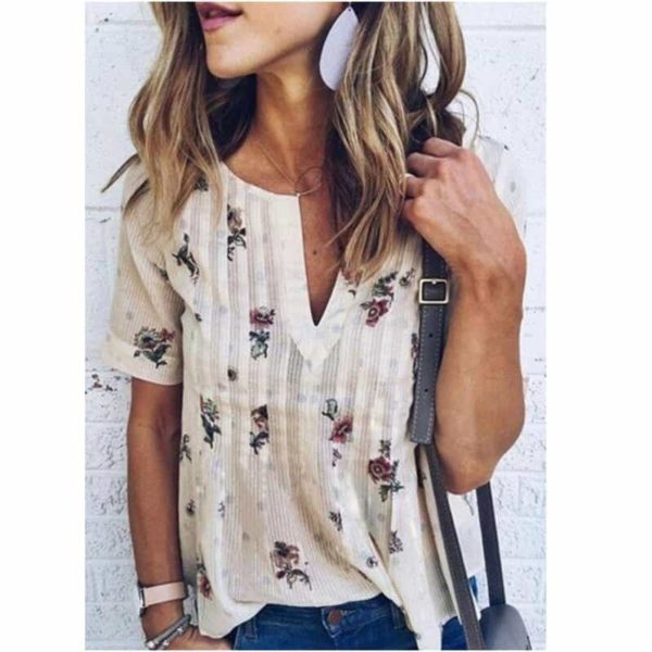 Floral Printed V-Neck Short Sleeves Casual 1