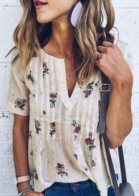 Floral Printed V-Neck Short Sleeves Casual 2