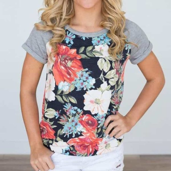 Floral Printed Tops O-Neck Short Sleeve Casual T-Shirt 1