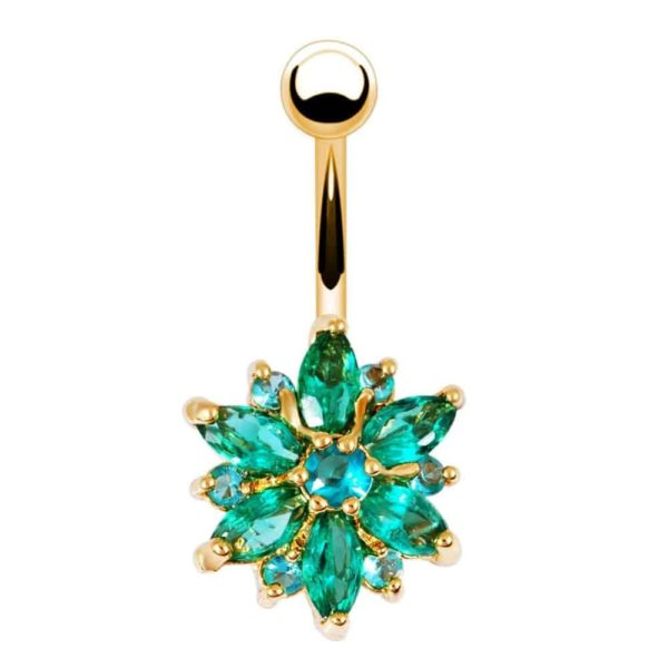 Stainless Steel Green Flower Crystal Navel Belly Button Ring 3
