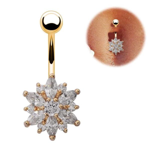 Stainless Steel Green Flower Crystal Navel Belly Button Ring 4
