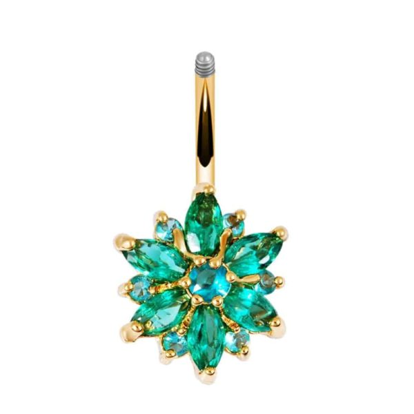 Stainless Steel Green Flower Crystal Navel Belly Button Ring 5