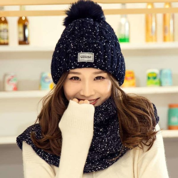 Hat and Scarf Long Knit Fur 2