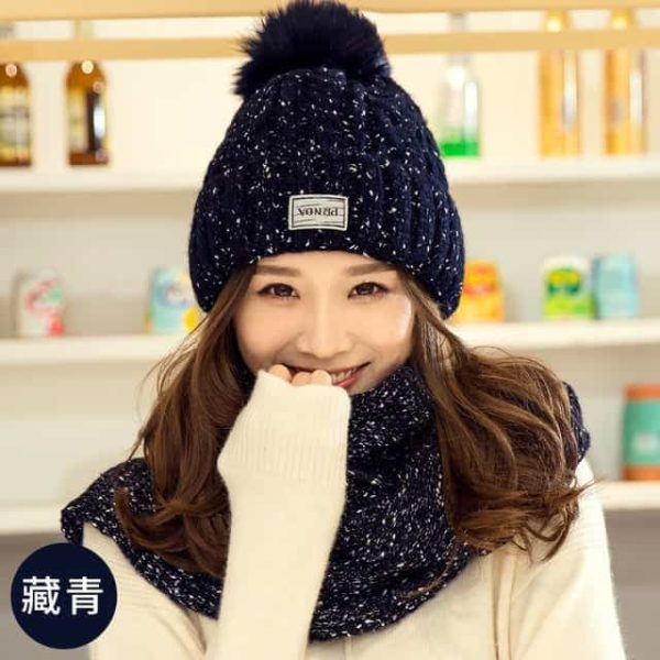 Hat and Scarf Long Knit Fur 7