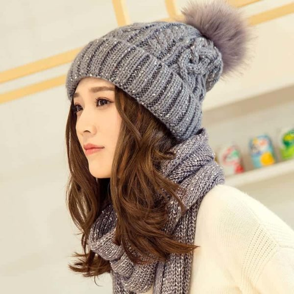 Hat and Scarf Long Knit Fur 4
