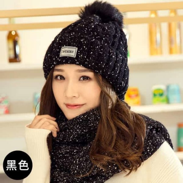 Hat and Scarf Long Knit Fur 8
