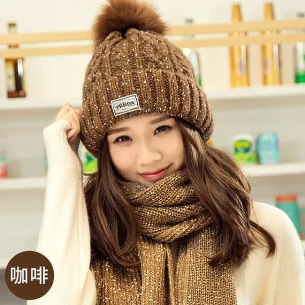 Hat and Scarf Long Knit Fur 9