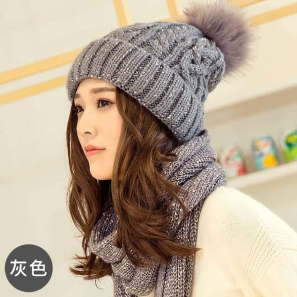 Hat and Scarf Long Knit Fur 5