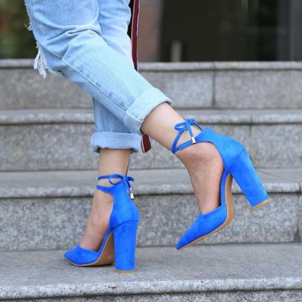 Strappy Pumps Sexy Retro High Thick Heels Shoes 7
