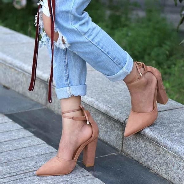 Strappy Pumps Sexy Retro High Thick Heels Shoes 9