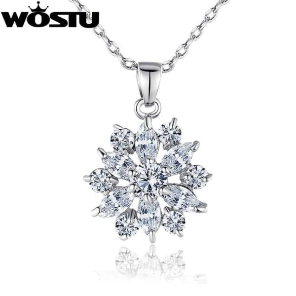 Fashion Gold Color Flower Pendant Necklaces With Zircon Crystal 2