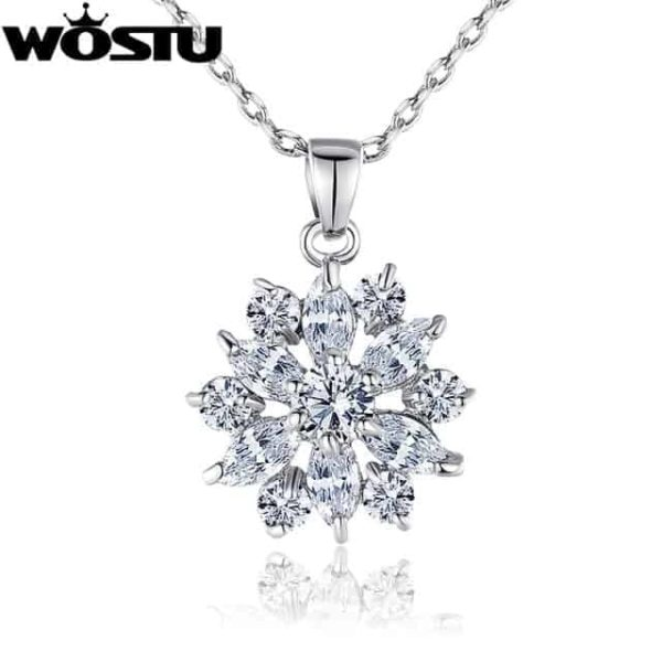 Fashion Gold Color Flower Pendant Necklaces With Zircon Crystal 7