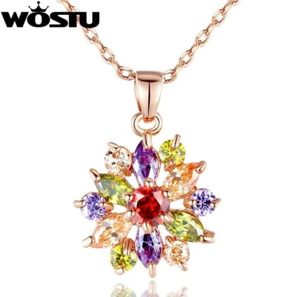 Fashion Gold Color Flower Pendant Necklaces With Zircon Crystal 3