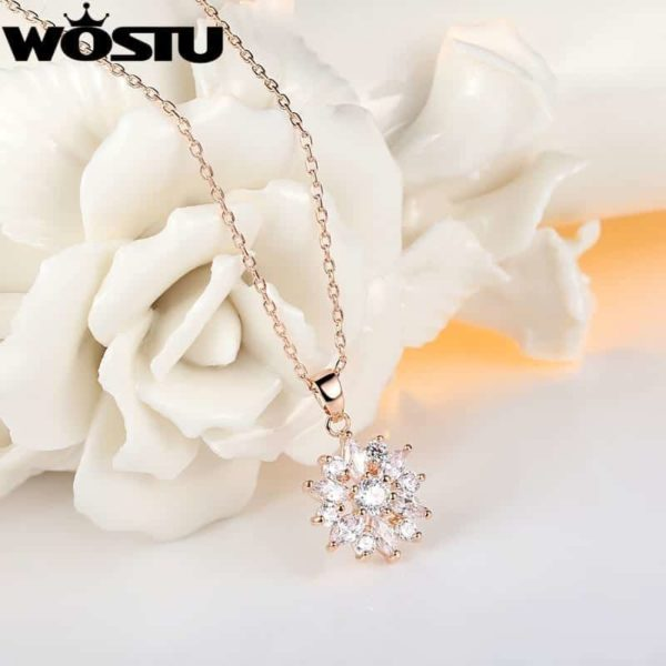 Fashion Gold Color Flower Pendant Necklaces With Zircon Crystal 4